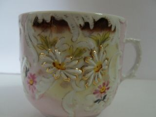 Antique Victorian Mustache Cup Embossed Daisy Floral Gold Gilt Hand Painted