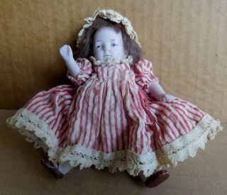 Antique Small Jointed Bisque Ceramic Doll Made In Germany