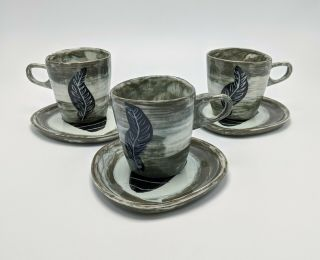 Rare Richard Saar Ceramics Etruscan Leaf Pattern Set Of 3 Cups Saucers Plates