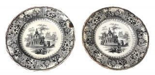 Antique Pair Very Rare Black Ironstone Transferware Plates From The Early 1800