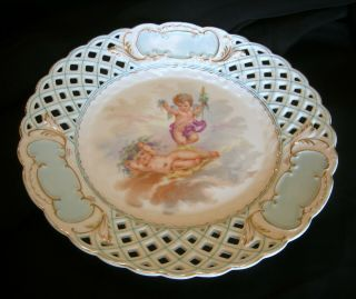 Antique English Reticulated Porcelain Plate Cherubs Late 19th Century Blue