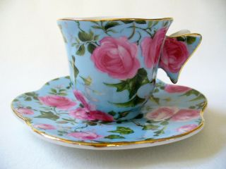 Rose Chintz Butterfly Handle Demitasse Cup And Saucer Porcelain Pink Roses Gold