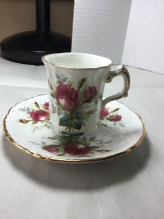 Cup,  Saucer,  Grandmothers Rose Made In England.  By Hammersley,  Bone China.
