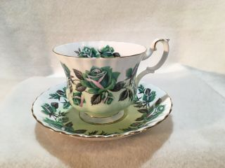 Royal Albert Tea Cup And Saucer Green Roses Pattern Lakeside Grasmere