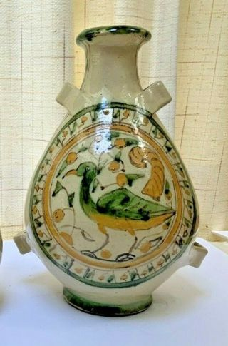 "Rare Italian/french Ceramic Pottery Bottle Or ""conscience"" Handmade 12""h Marked"