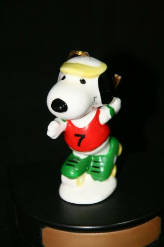 "Rare Vintage Peanuts Snoopy Ceramic Ornament "" Snoopy On Roller Skates "" Ufs 1958"