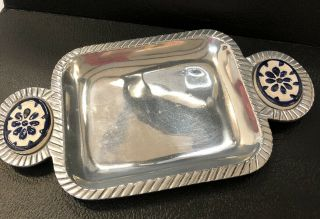 """Vintage 11"""" Serving Platter Tray Plate Silver - Colored Metal Ceramic Handles Rare"""
