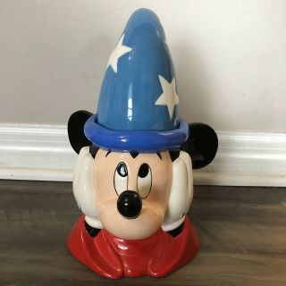 Vintage Disney Mickey Mouse Wizard Sorcerer Ceramic Cookie Jar Rare