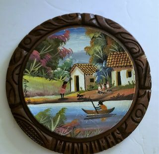 Antique Hand Painted Plate Mounted In Round Wood Frame.  Honduras Signed