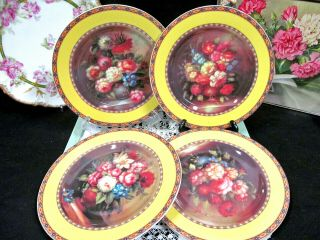 Limoges France Set Of 4 Salad Plates With Rose Bouquet Yellow Band Plate
