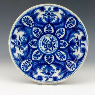 Antique Dutch Delft - Tin Glazed Pottery Oriental Inspired Plate - Early