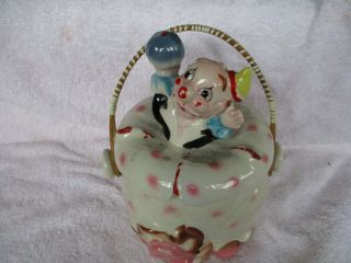 "Rare & Vintage Ceramic "" Circus Clown "" Cookie Or Cracker Jar With Straw Handle"