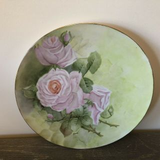 """Vintage Schonwald Hand Painted Roses Gold Trim Plate From Germany 10.  5"""""""