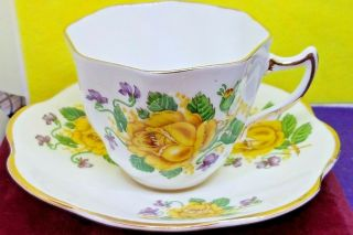 Clare Teacup&saucer Bone China England Yellow Roses&purple Flowers Vtg Collector