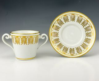 Antique English Pottery - Gilt Decorated Twin Handed Loving Cup & Saucer