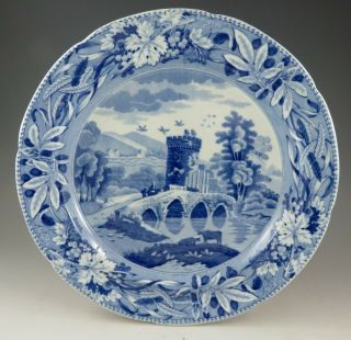 Antique Pottery Pearlware Blue Transfer Bridge Of Lucano Pattern Pl 1825 Marked