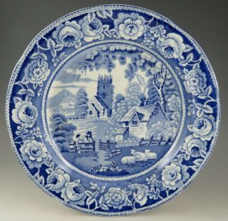 Antique Pottery Pearlware Blue Transfer Rural Village Plate 1825 Marked