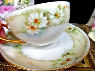 Bavaria Germany Tea Cup And Saucer Painted Daisy Pattern Teacup German 1930s