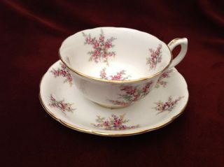 Hammersley England Purple & Yellow Gold Trim Floral Chintz Cup Saucer