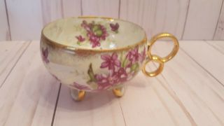 Rare Iridescent Violets Teacup China Double Finger Holes Circles Bottom