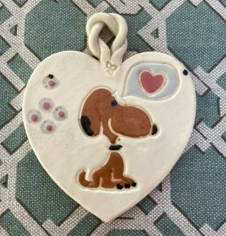 Rare Vintage Peanuts Snoopy In Love Hearts Ceramic Heart