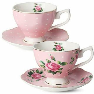 Floral Tea Cups And Saucers,  Set Of 2 (pink 8 Oz) With Gold Trim Gift Box
