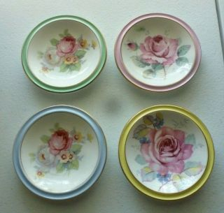 4 Different Paragon Floral Butter Pats,  This Set Is Quite Rare,  Stunning