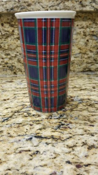 Starbucks 2017 Holiday Ceramic Traveler 11 Oz Tumbler Christmas Mug Plaid Rare