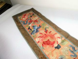 Antique Vintage Chinese Silk Embroidery Robe Sleeve Band Panel Flowers