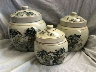 Ceramic Kitchen Canisters Containers Jars Asian Oriental Scenes Set Of 3 Rare