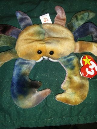 Ty Beanie Babies Rare Retired Claude The Crab.  Multi Color