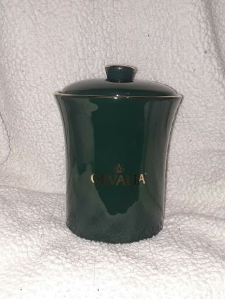 Gevalia Ceramic Coffee Canister With Lid Forest Green Gold Trim Jar Rare