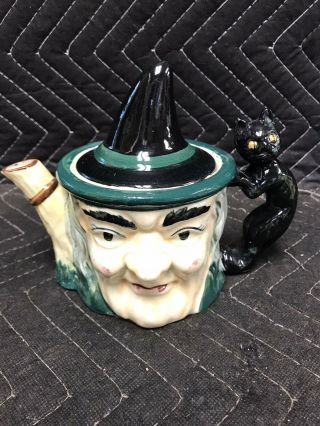 Rare Vintage Ceramic Witch Toby Style Teapot With Lid Japan Hand Painted Cat