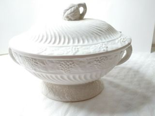 Rare White Ceramic Vintage Ware Design With Handles On Side