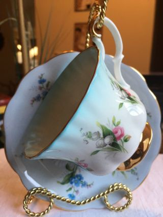 Vintage Tea Cup And Saucer Royal Albert Blue Fades To White (rare)