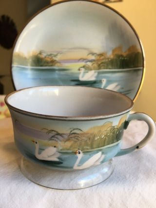 Vintage Tea Cup And Saucer Fine Bone Handpainted China Rare Find 1940s