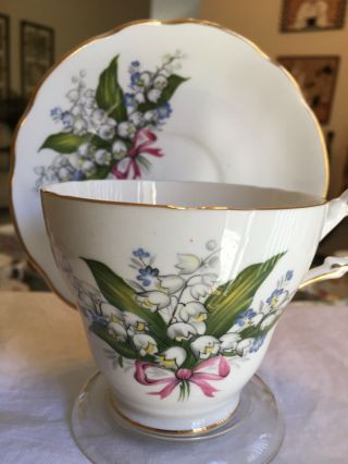 Vintage Tea Cup And Saucer Regency Lily Of The Valley (rare) 1960s