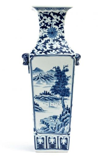 Chinese Antique Qing Dynasty,  Vase With Mountains,  Birds In Landscape,  1900