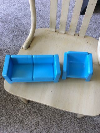 Vintage 1973 Barbie Dream House Blue Sofa Couch Loveseat And Chair