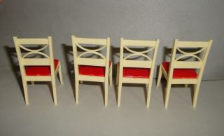 Vintage Renwal Red and White Chairs Kitchen Dining Room Dollhouse 2