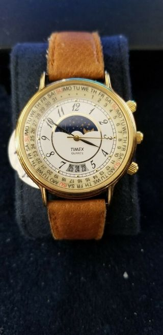 Vintage Timex Moon Phase Perpetual Calendar Watch 1990 Gold Tone Dress Date Rare