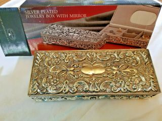 Antique Silver Plated Jewlery Box With Mirror Vintage 1992