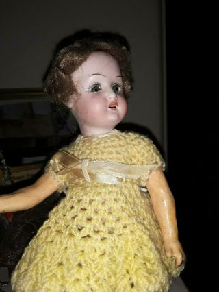 "Antique 9 "" Bisque Head German Doll Fully Jointed W/i.  D."