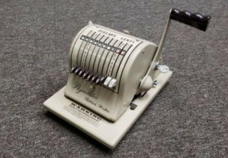 Antique 1950s Paymaster 8000 Series White Green Yellow Check Writer Conditi
