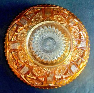"""Antique Imperial Marigold Carnival Glass 7 """" Arches Hobstar Bowl Iridescence"""