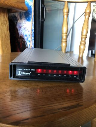 Hayes Smartmodem 2400 External Modem W/ Power Cord Vintage Rare