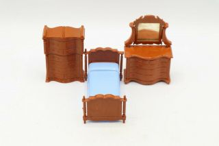 Vintage Plastic Doll House Furniture - Bedroom Set - Green - Made In Canada