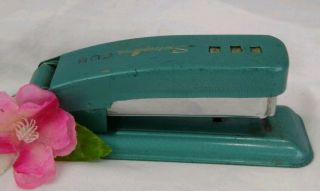 Vintage Swingline Cub Stapler Turquoise Blue Metal Made In Usa Does Work