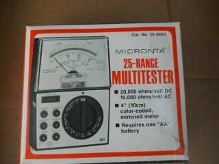 Vintage Micronta Multitester 25 Ranges 20,  000 Ohms / Volt Dc Cat No.  22 - 202u
