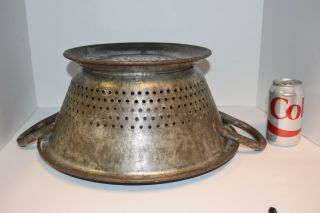 Antique Primitive Metal Huge Commercial Industrial Galvinized Colander Strainer